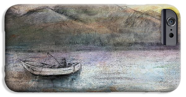 Fishing Pastels iPhone Cases - Lone Fisherman iPhone Case by Arline Wagner