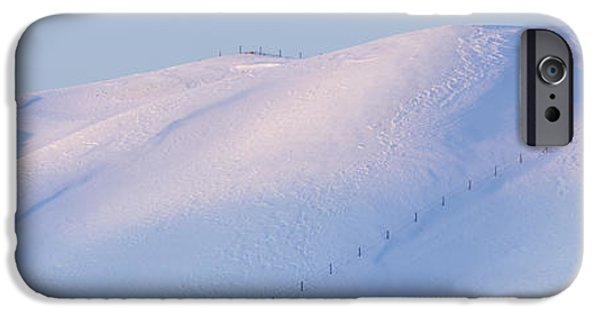 Wintertime iPhone Cases - Lone Trees on a Snowy Landscape iPhone Case by Jeremy Woodhouse