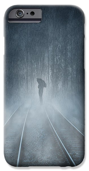 Fog Mist Mixed Media iPhone Cases - Lonely Figure iPhone Case by Svetlana Sewell