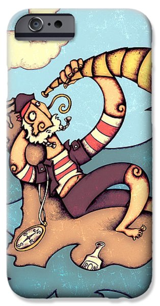 People Drawings iPhone Cases - Lonely Pirate iPhone Case by Autogiro Illustration