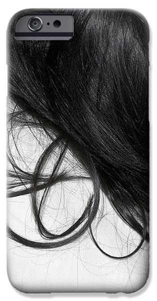 Long dark hair of a woman on white pillow iPhone Case by Matthias Hauser