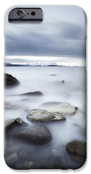 Landscape In Norway iPhone Cases - Long Exposure Scene Of Rocks iPhone Case by Arild Heitmann
