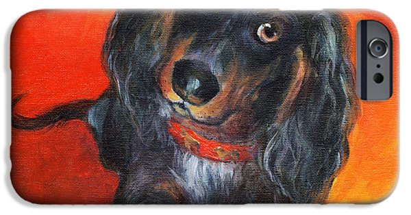 Vibrant Colors Drawings iPhone Cases - Long haired Dachshund dog puppy Portrait painting iPhone Case by Svetlana Novikova