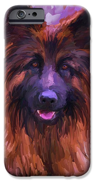 Police iPhone Cases - Long Haired German Shepherd iPhone Case by Jai Johnson
