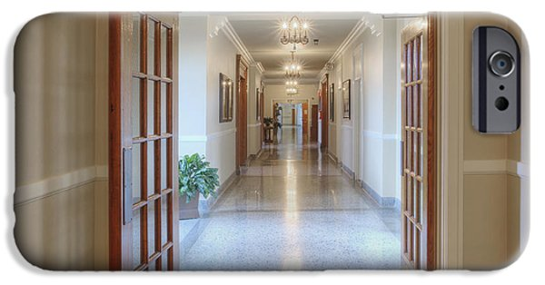 Built Structure iPhone Cases - Long Hallway In Historic Building iPhone Case by Douglas Orton