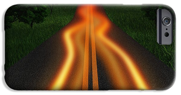 Nature Abstract iPhone Cases - Long Road In Twilight iPhone Case by Setsiri Silapasuwanchai