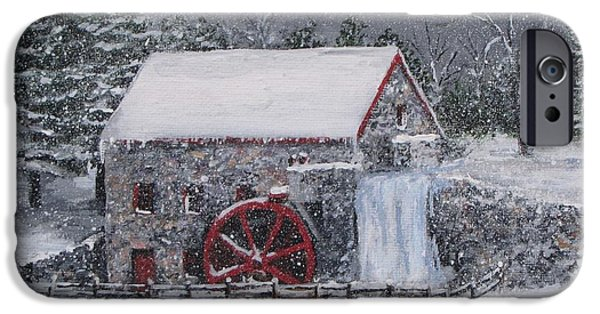 Sudbury Ma Paintings iPhone Cases - Longfellows Grist Mill In Winter iPhone Case by Jack Skinner