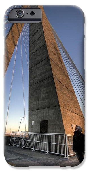 Cable iPhone Cases - Looking Up Cooper River Bridge iPhone Case by Dustin K Ryan