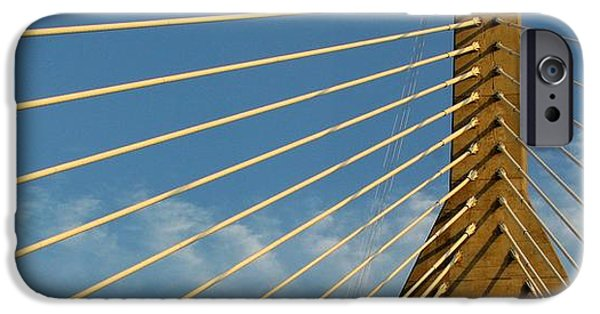 Boston Ma iPhone Cases - Looking Up Zakim iPhone Case by Lori Pessin Lafargue