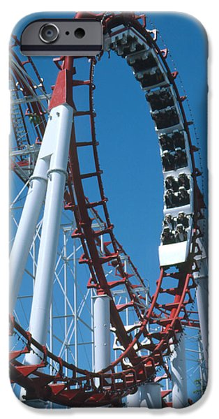 Rollercoaster Photographs iPhone Cases - Loop Section Of A Rollercoaster Ride iPhone Case by Kaj R. Svensson