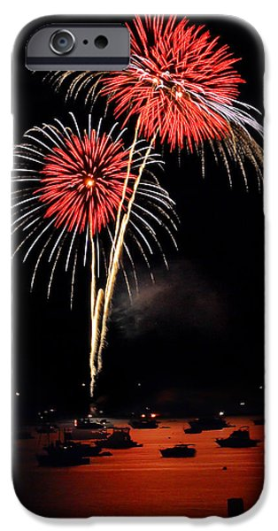 Fireworks iPhone Cases - Lopez Island Fireworks 3 iPhone Case by David Salter