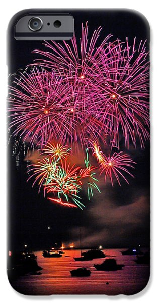 Fireworks iPhone Cases - Lopez Island Fireworks 4 iPhone Case by David Salter