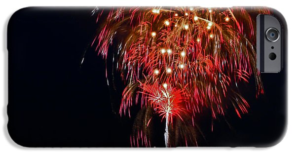 Fireworks iPhone Cases - Lopez Island Fireworks 6 iPhone Case by David Salter