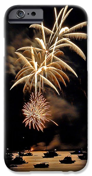 Fireworks iPhone Cases - Lopez Island Fireworks 7 iPhone Case by David Salter