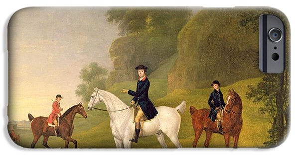 Dog In Landscape Photographs iPhone Cases - Lord Bulkeley and his Harriers iPhone Case by Francis Sartorius