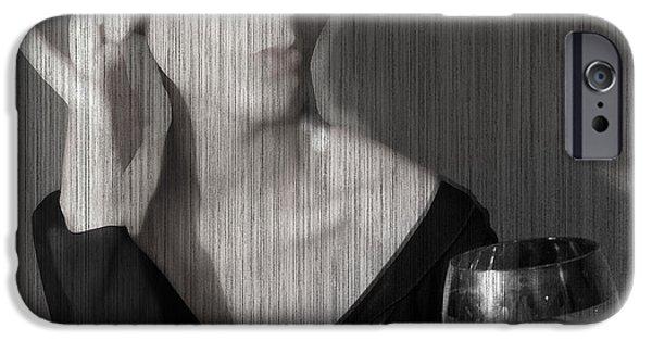 Woman Digital iPhone Cases - Loren with Wine iPhone Case by Naxart Studio