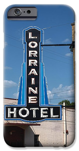 Lorraine Hotel Sign iPhone Case by Joshua House