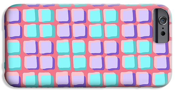 Louisa iPhone Cases - Lots of Squares iPhone Case by Louisa Knight