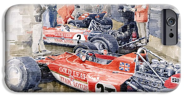 Classic Racing Car iPhone Cases - Lotus 49 B Lotus 72  iPhone Case by Yuriy  Shevchuk