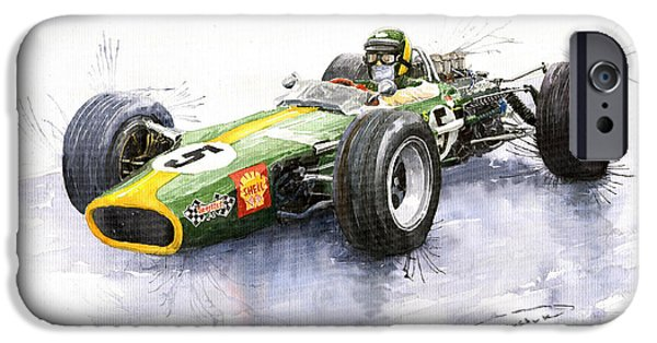 Vintage Sport Cars iPhone Cases - Lotus 49 Ford F1 Jim Clark iPhone Case by Yuriy  Shevchuk