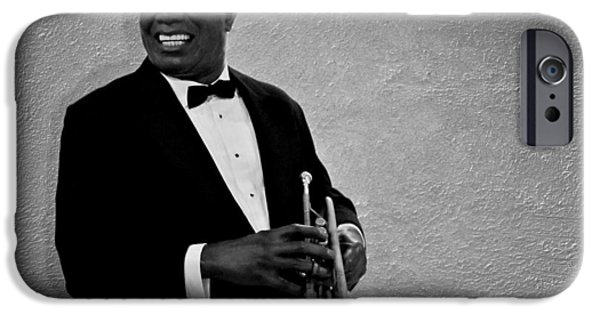 Trumpet iPhone Cases - Louis Armstrong BW iPhone Case by David Dehner