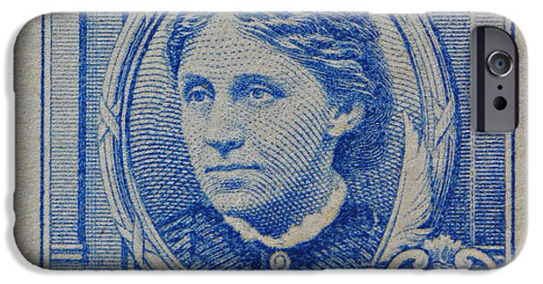 Louisa May Alcott iPhone Cases - Louisa May Alcott postage stamp  iPhone Case by James Hill