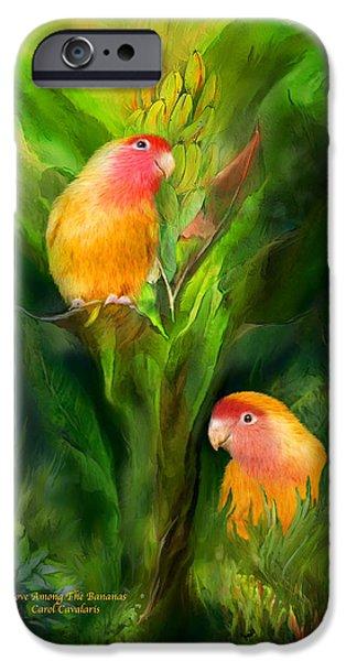 Tree Art Print Mixed Media iPhone Cases - Love Among The Bananas iPhone Case by Carol Cavalaris