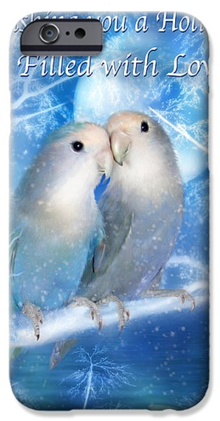 Christmas Greeting iPhone Cases - Love At Christmas Card iPhone Case by Carol Cavalaris