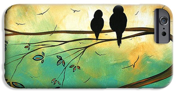 Sun Paintings iPhone Cases - Love Birds by MADART iPhone Case by Megan Duncanson