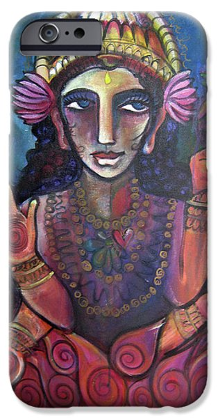 Hindu Goddess iPhone Cases - Love for Lakshmi iPhone Case by Laurie Maves