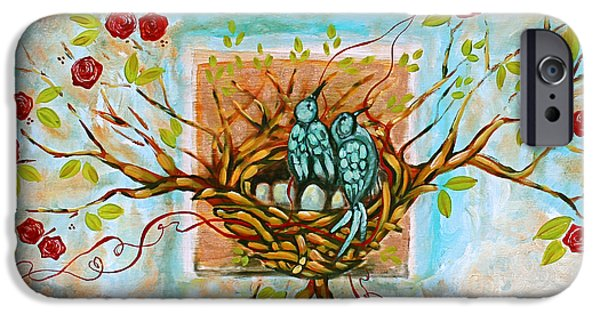 Nest iPhone Cases - Love Is The Red Thread iPhone Case by Shiloh Sophia McCloud