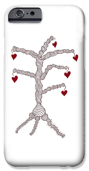 Conceptual Drawings iPhone Cases - Love tree iPhone Case by Frank Tschakert