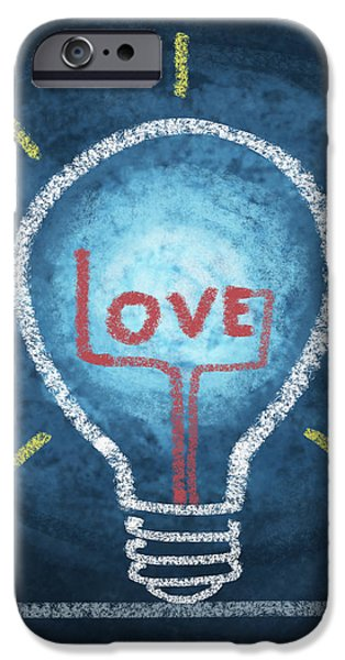 love word in light bulb iPhone Case by Setsiri Silapasuwanchai