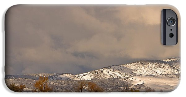 Winter Storm iPhone Cases - Low Winter Storm Clouds Colorado Rocky Mountain Foothills 2 iPhone Case by James BO  Insogna