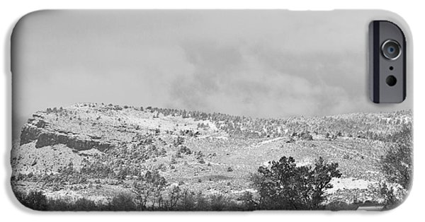 Winter Storm iPhone Cases - Low Winter Storm Clouds Colorado Rocky Mountain Foothills 7 BW iPhone Case by James BO  Insogna
