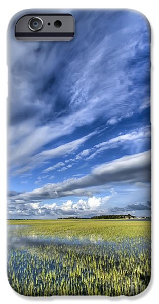 Folly iPhone Cases - Lowcountry Flood Tide and Clouds iPhone Case by Dustin K Ryan