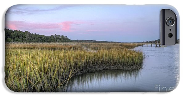 Moon iPhone Cases - Lowcountry Marsh Grass on the Bohicket iPhone Case by Dustin K Ryan