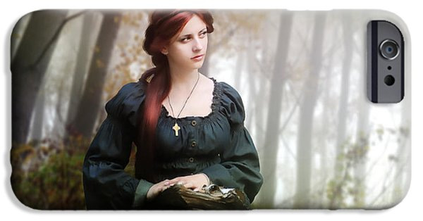 Red-haired Women iPhone Cases - Lucid Contemplation iPhone Case by Karen K