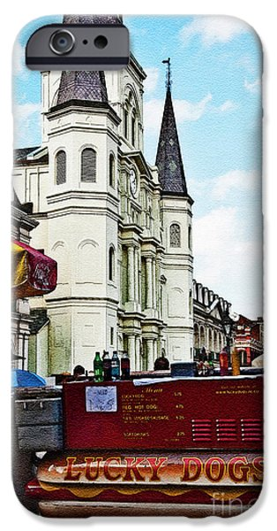 Lucky Dogs and St. Louis Cathedral iPhone Case by Kathleen K Parker
