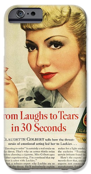 Endorsement iPhone Cases - Luckys Cigarette Ad, 1938 iPhone Case by Granger
