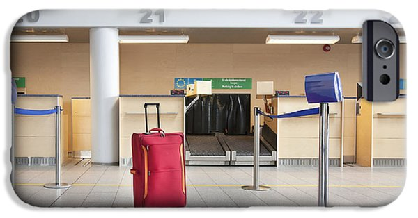 Airline Industry iPhone Cases - Luggage at an Airline Check-In Counter iPhone Case by Jaak Nilson