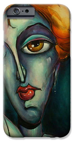Figures Paintings iPhone Cases - Luna iPhone Case by Michael Lang