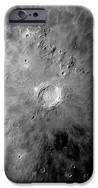 Copernicus iPhone Cases - Lunar Crater Copernicus Surrounded iPhone Case by Phillip Jones