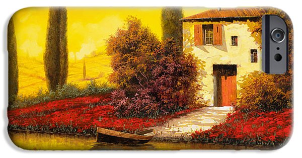 Sunset Paintings iPhone Cases - Lungo Il Fiume Tra I Papaveri iPhone Case by Guido Borelli