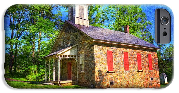 Red School House iPhone Cases - Lutz-Franklin Schoolhouse iPhone Case by Paul Ward