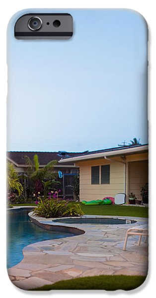 Luxury Backyard Pool and Lanai iPhone Case by Inti St. Clair