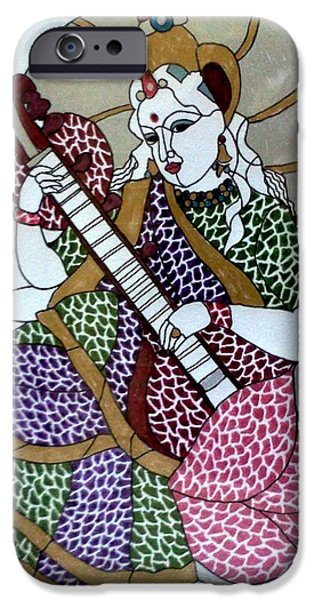 Hindu Goddess Mixed Media iPhone Cases - Maa Saraswati iPhone Case by Kruti Shah
