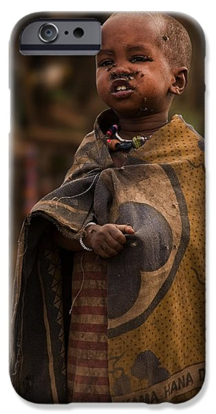 Kenya Photographs iPhone Cases - Maasai Boy iPhone Case by Adam Romanowicz
