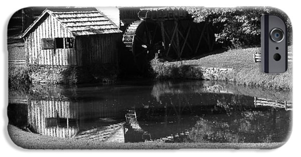 Grist Mill iPhone Cases - Mabry Mill in Black and White iPhone Case by Thomas R Fletcher