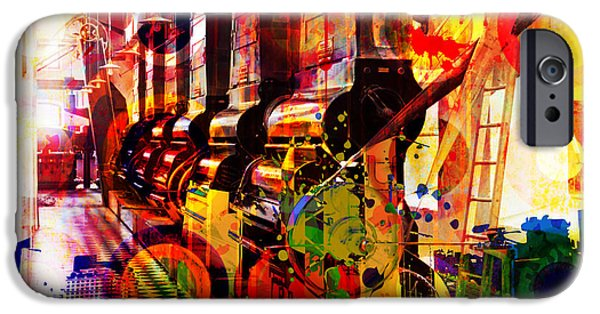 Layered Digital Art iPhone Cases - Machine Age-1 iPhone Case by Gary Grayson